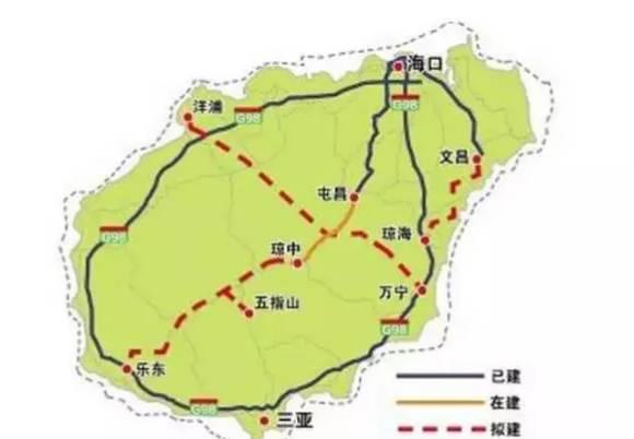 3条高速公路分别系海南省中线琼中至五指山至乐东高速公路,万宁至儋
